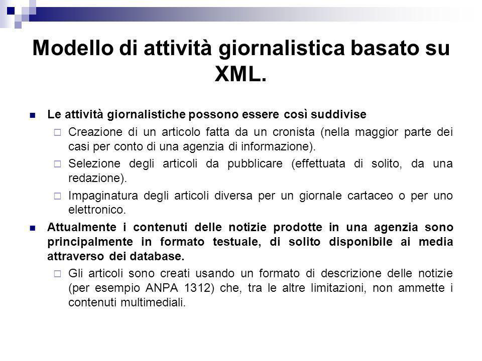 Modello di attività giornalistica basato su XML.