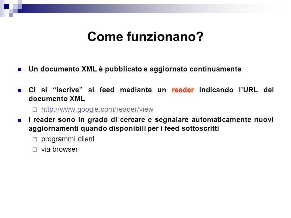 Come funzionano Un documento XML è pubblicato e aggiornato continuamente.