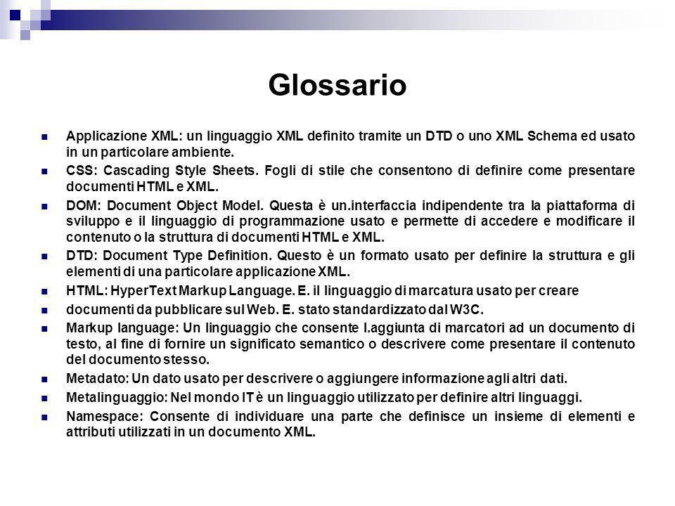 Glossario Applicazione XML: un linguaggio XML definito tramite un DTD o uno XML Schema ed usato in un particolare ambiente.