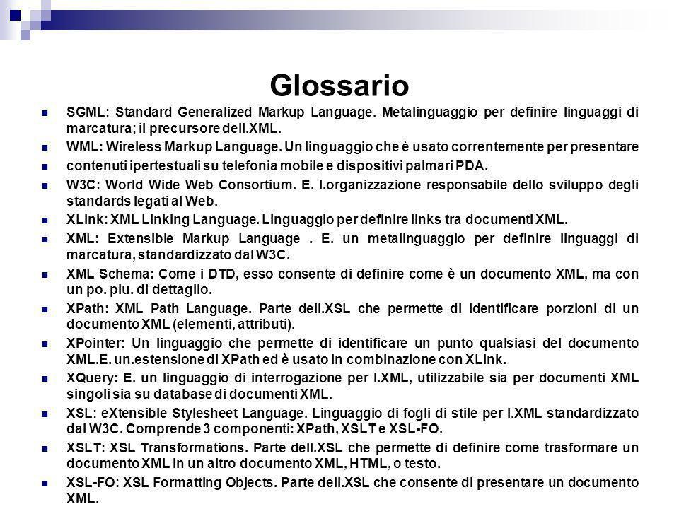 Glossario SGML: Standard Generalized Markup Language. Metalinguaggio per definire linguaggi di marcatura; il precursore dell.XML.