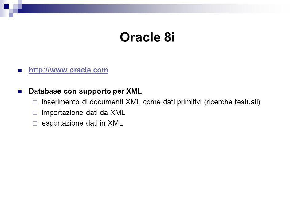 Oracle 8i   Database con supporto per XML