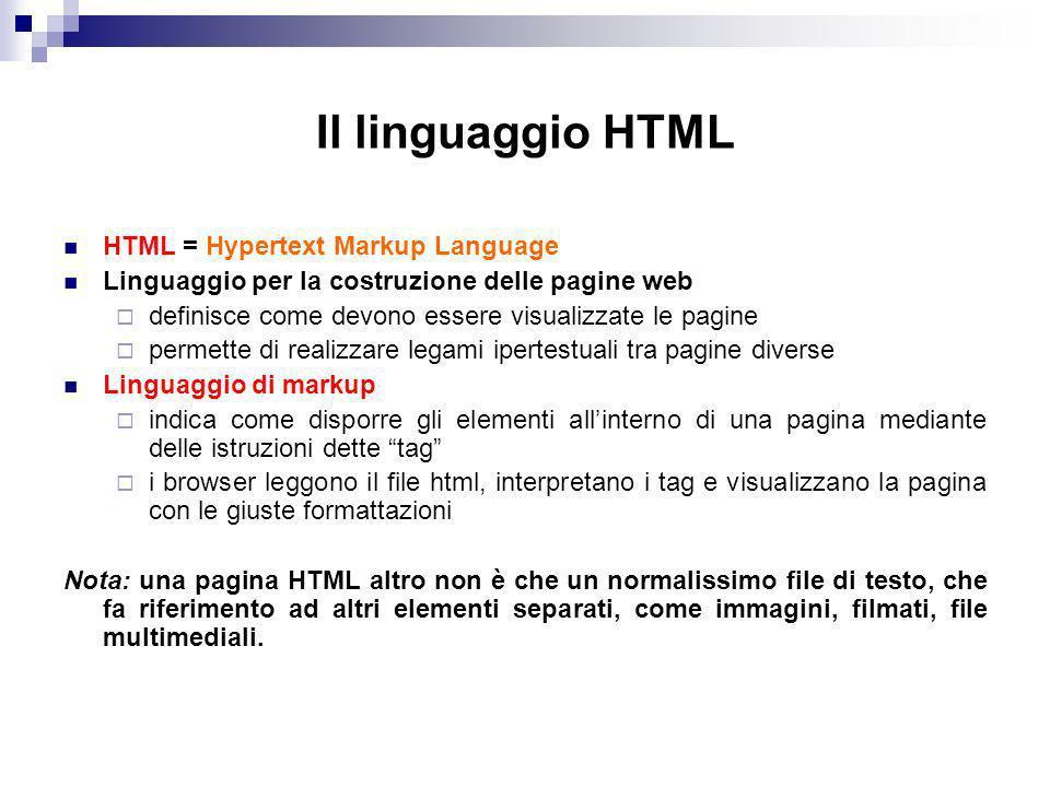 Il linguaggio HTML HTML = Hypertext Markup Language