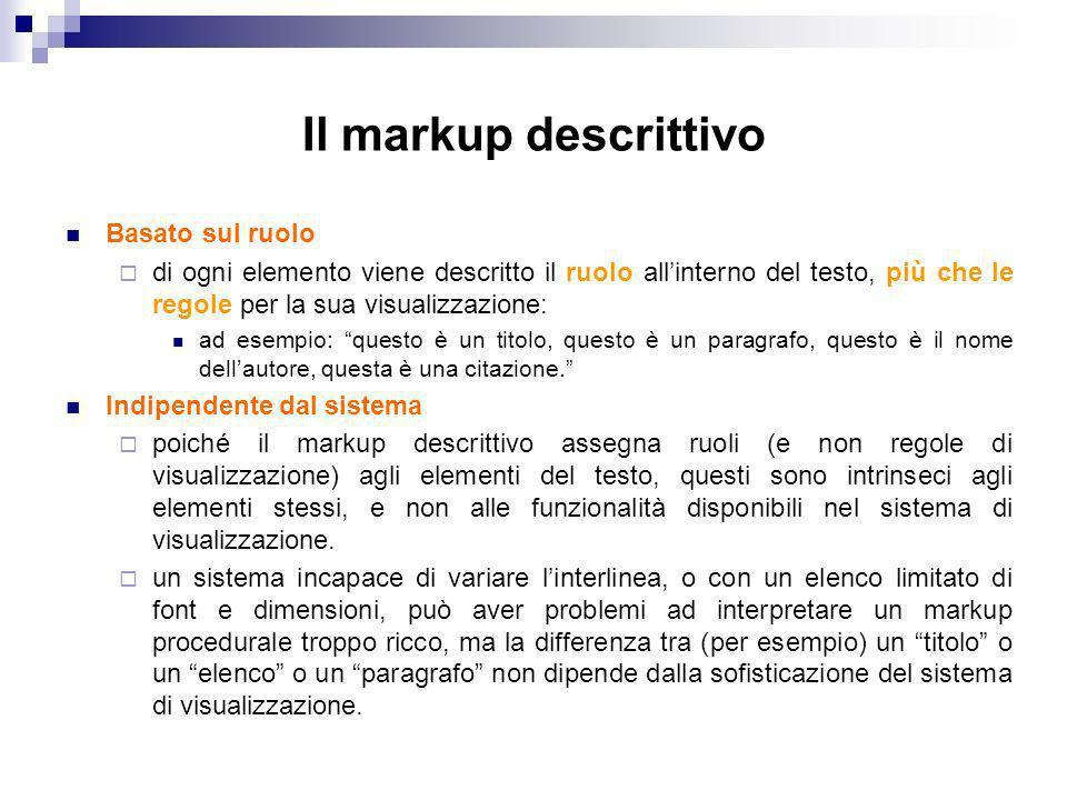 Il markup descrittivo Basato sul ruolo