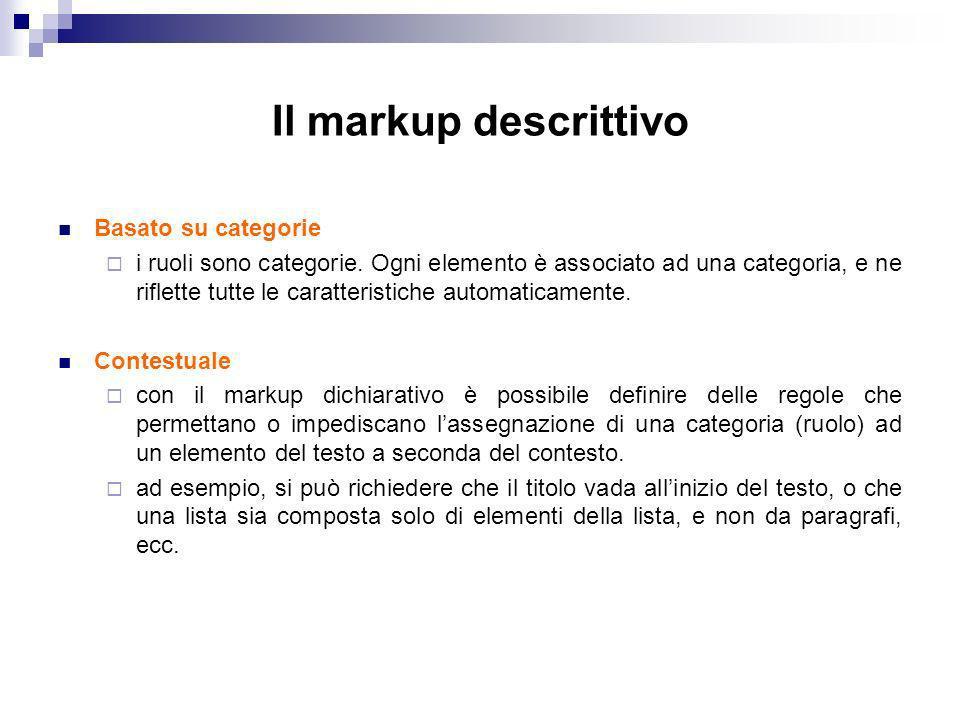 Il markup descrittivo Basato su categorie