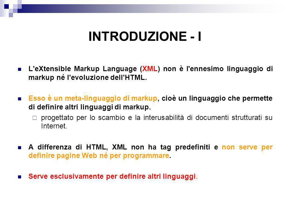 INTRODUZIONE - I L eXtensible Markup Language (XML) non è l ennesimo linguaggio di markup né l evoluzione dell HTML.