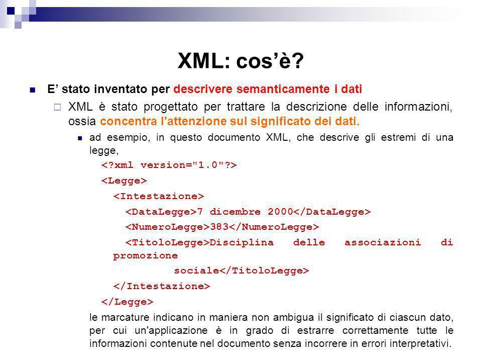 XML: cos'è E' stato inventato per descrivere semanticamente i dati