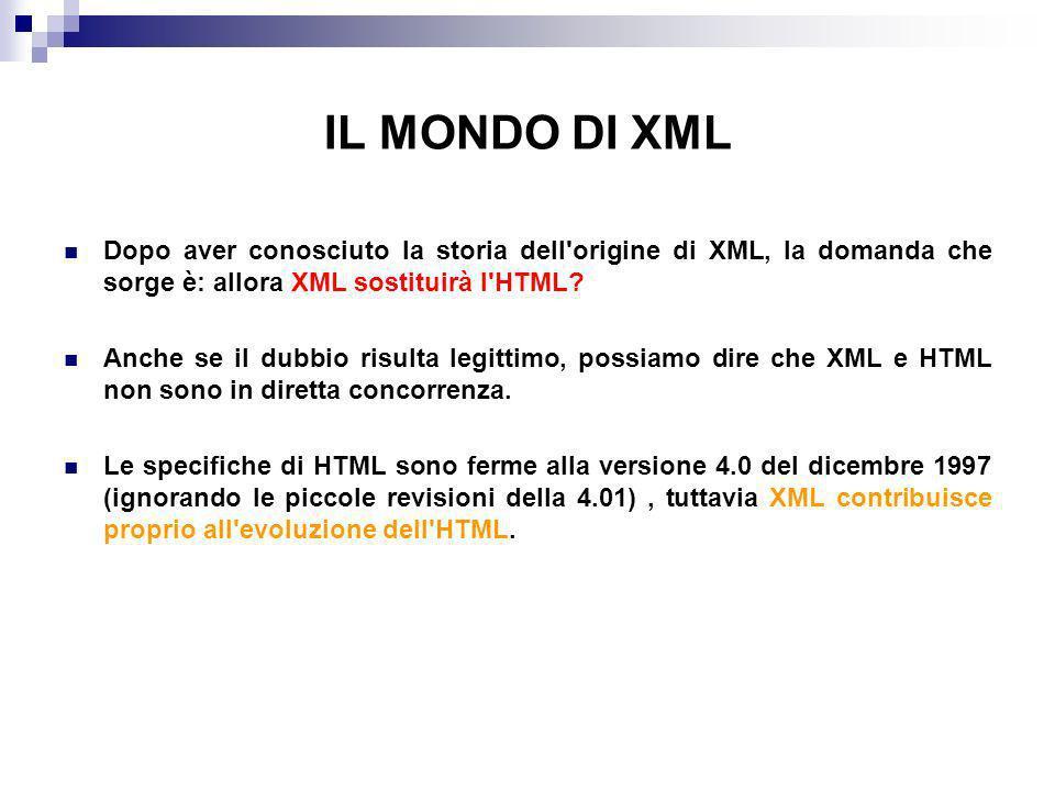 IL MONDO DI XML Dopo aver conosciuto la storia dell origine di XML, la domanda che sorge è: allora XML sostituirà l HTML