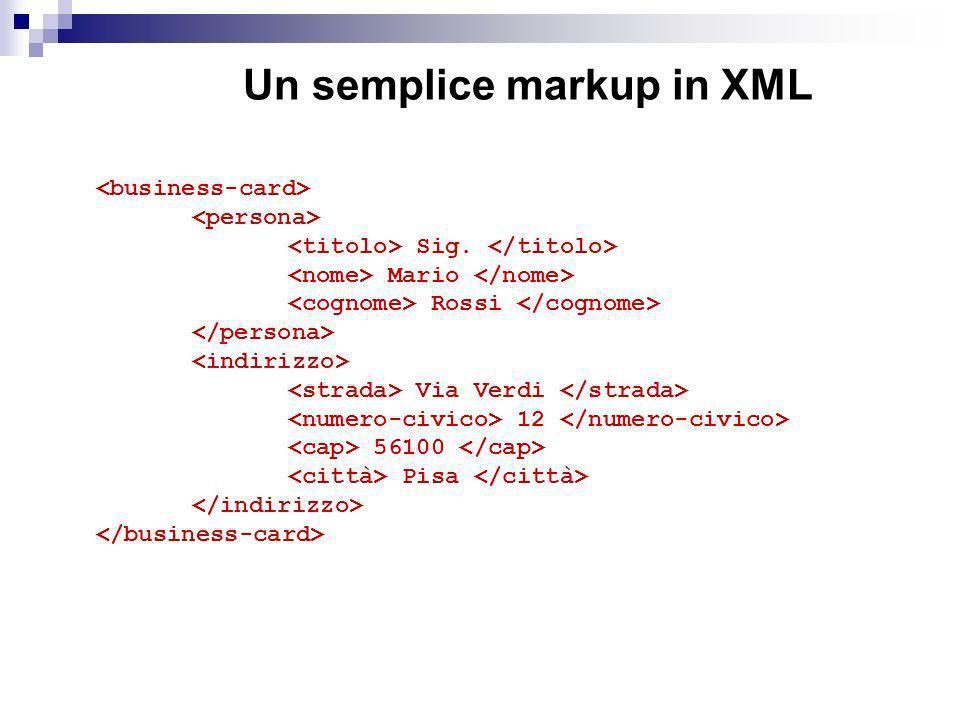 Un semplice markup in XML
