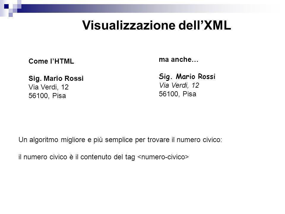 Visualizzazione dell'XML
