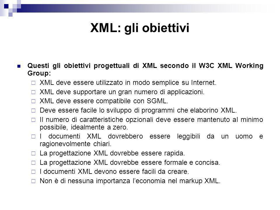 XML: gli obiettivi Questi gli obiettivi progettuali di XML secondo il W3C XML Working Group: