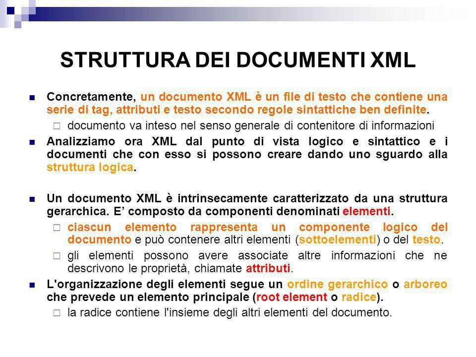 STRUTTURA DEI DOCUMENTI XML