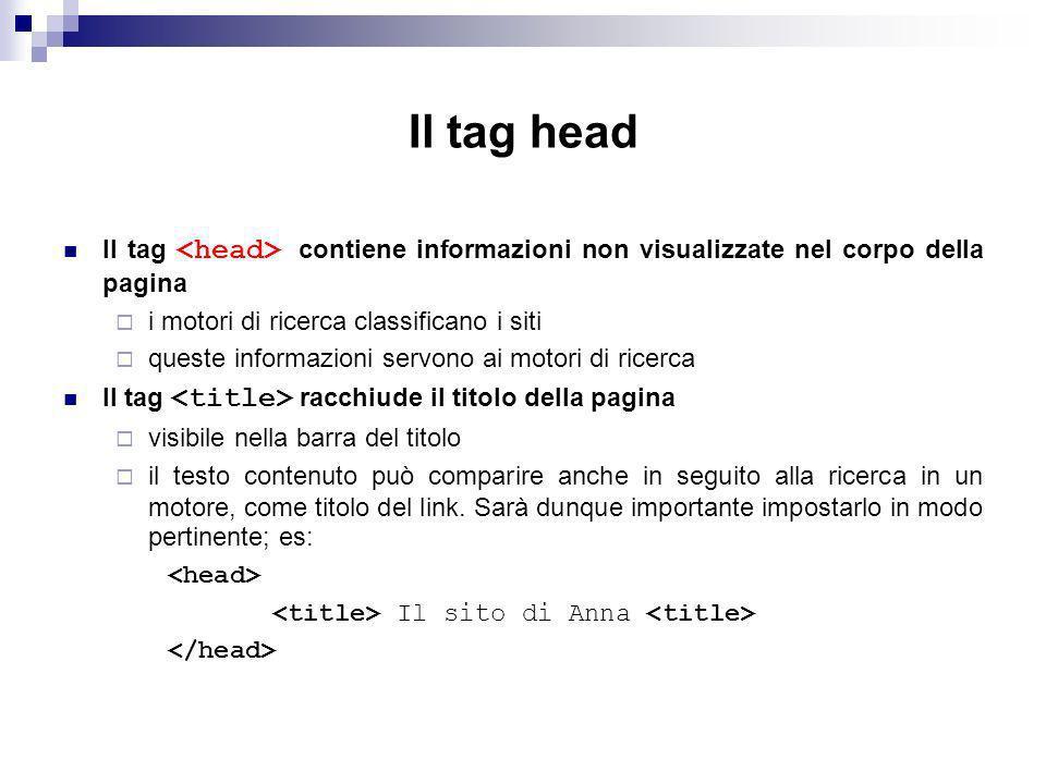 Il tag head Il tag <head> contiene informazioni non visualizzate nel corpo della pagina. i motori di ricerca classificano i siti.