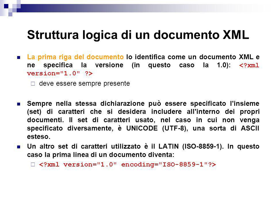 Struttura logica di un documento XML