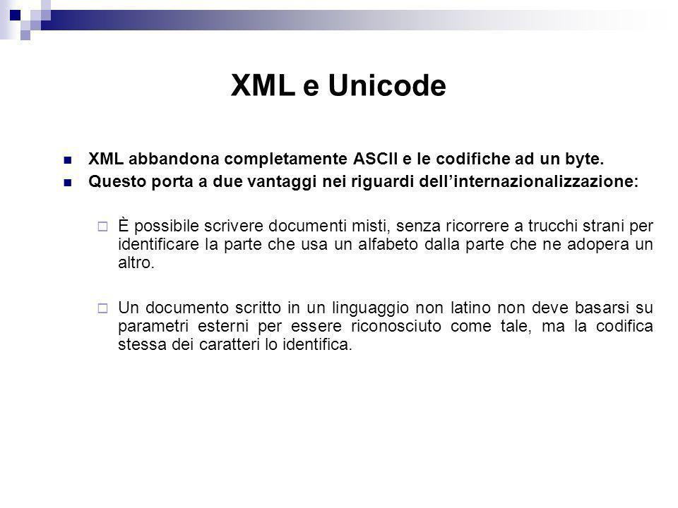 XML e Unicode XML abbandona completamente ASCII e le codifiche ad un byte. Questo porta a due vantaggi nei riguardi dell'internazionalizzazione: