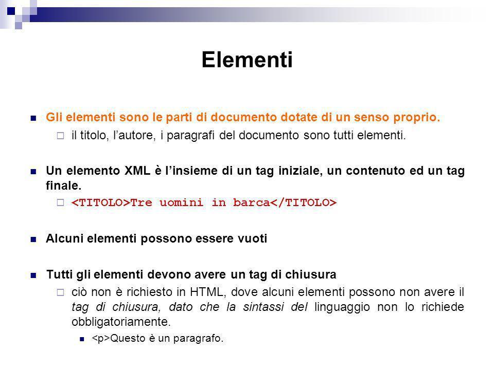Elementi Gli elementi sono le parti di documento dotate di un senso proprio. il titolo, l'autore, i paragrafi del documento sono tutti elementi.