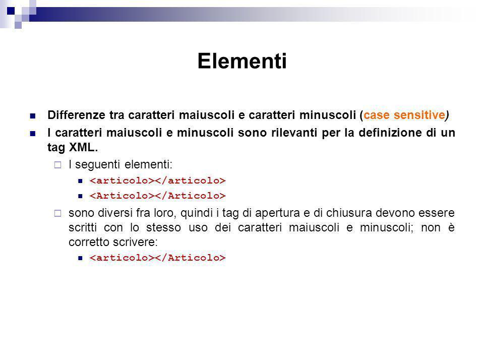 Elementi Differenze tra caratteri maiuscoli e caratteri minuscoli (case sensitive)