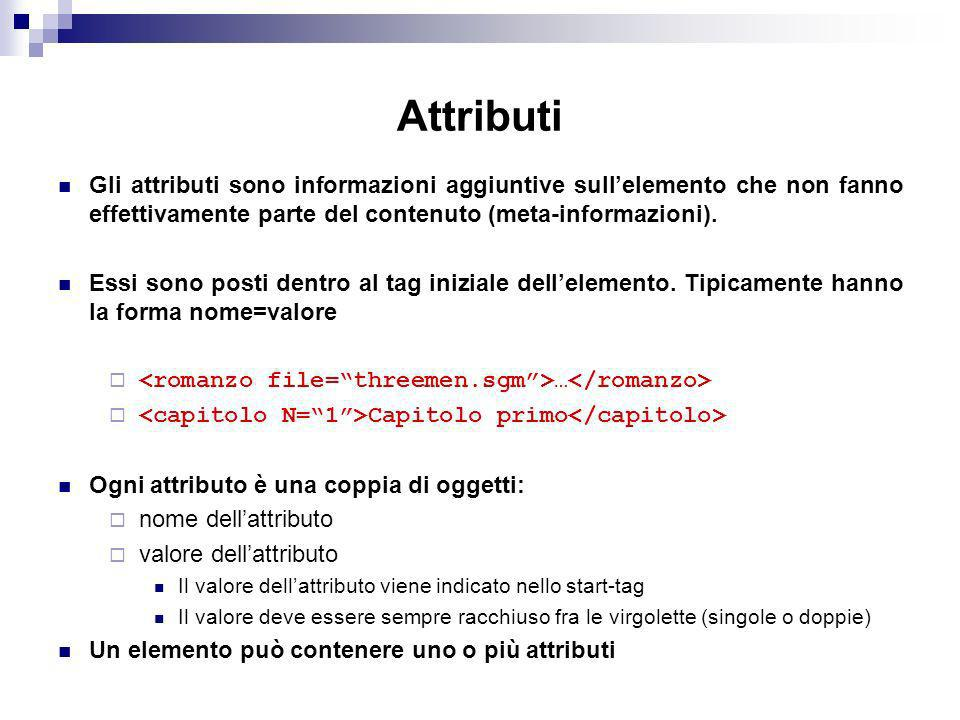 Attributi Gli attributi sono informazioni aggiuntive sull'elemento che non fanno effettivamente parte del contenuto (meta-informazioni).