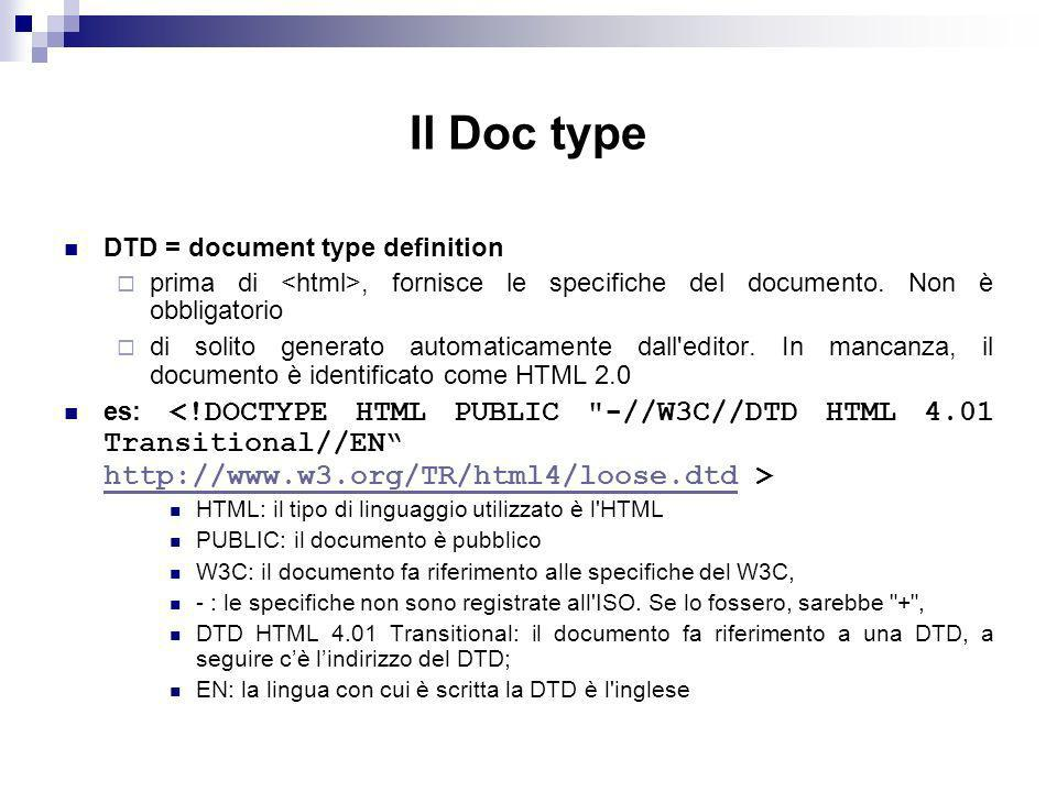Il Doc type DTD = document type definition