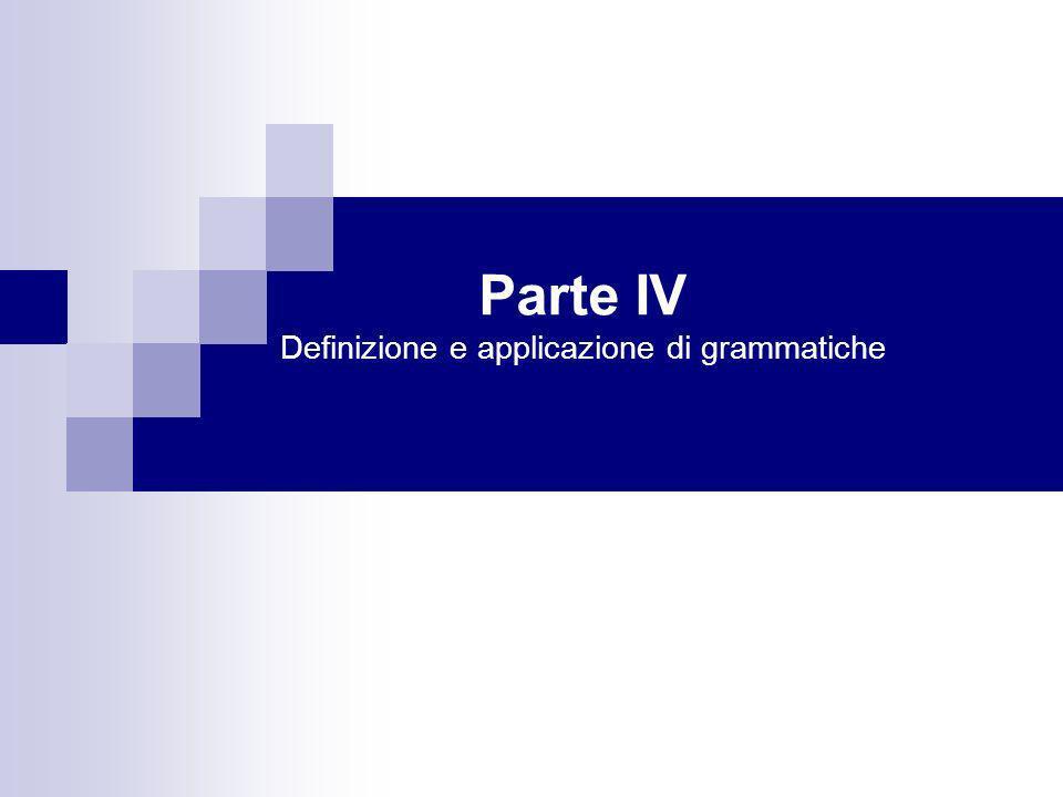 Parte IV Definizione e applicazione di grammatiche