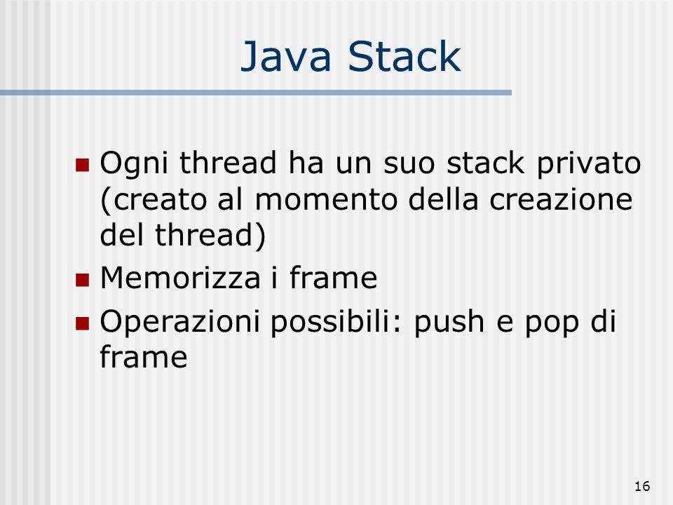 Java Stack Ogni thread ha un suo stack privato (creato al momento della creazione del thread) Memorizza i frame.