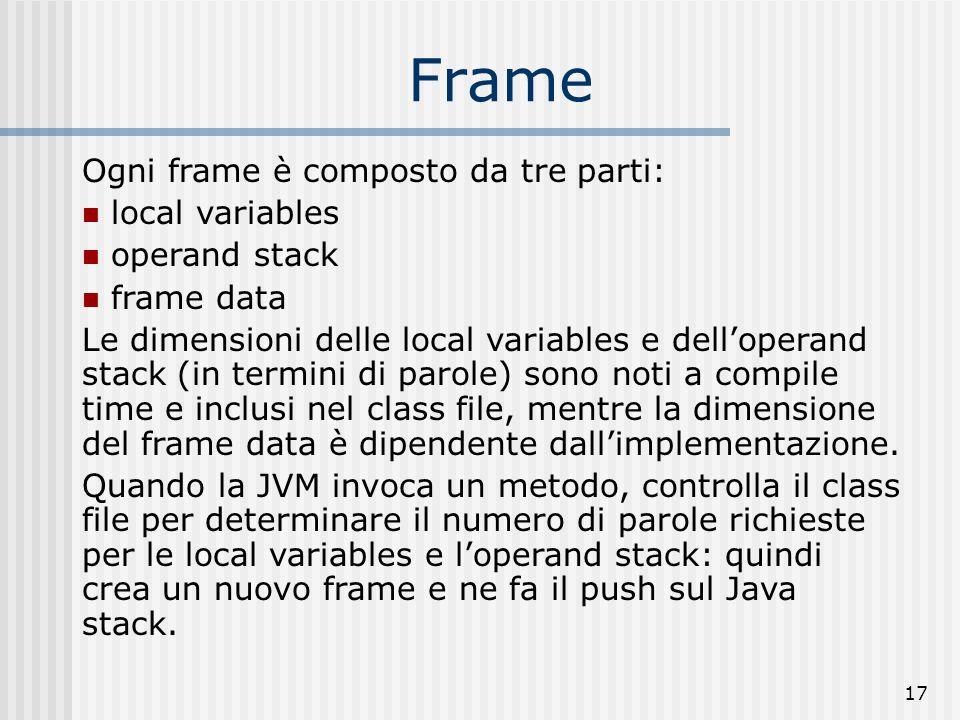 Frame Ogni frame è composto da tre parti: local variables