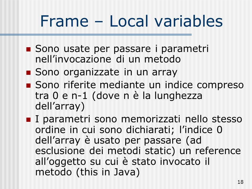 Frame – Local variables