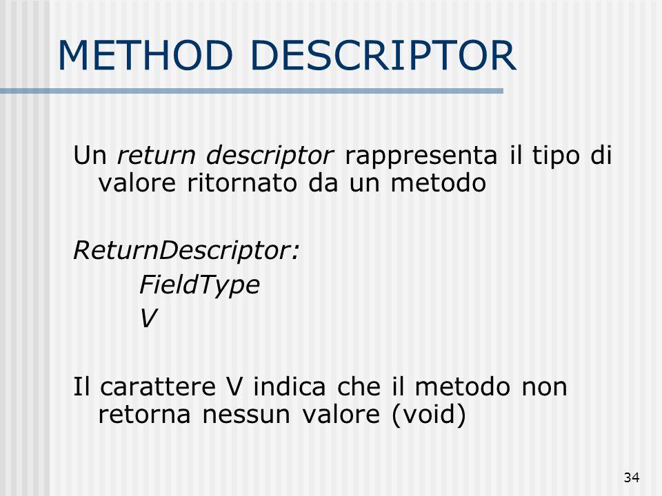 METHOD DESCRIPTOR Un return descriptor rappresenta il tipo di valore ritornato da un metodo. ReturnDescriptor: