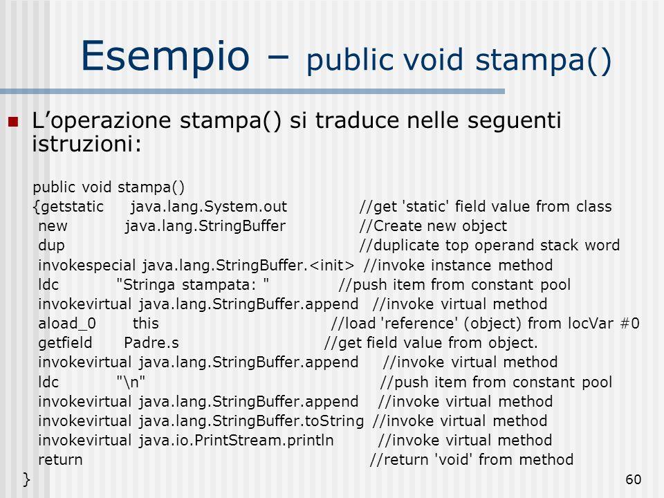 Esempio – public void stampa()