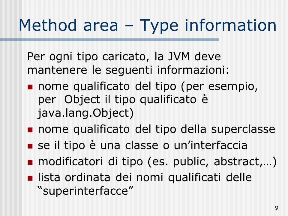 Method area – Type information