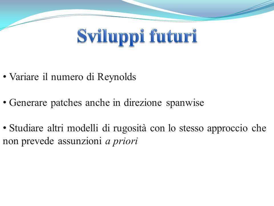 Sviluppi futuri Variare il numero di Reynolds