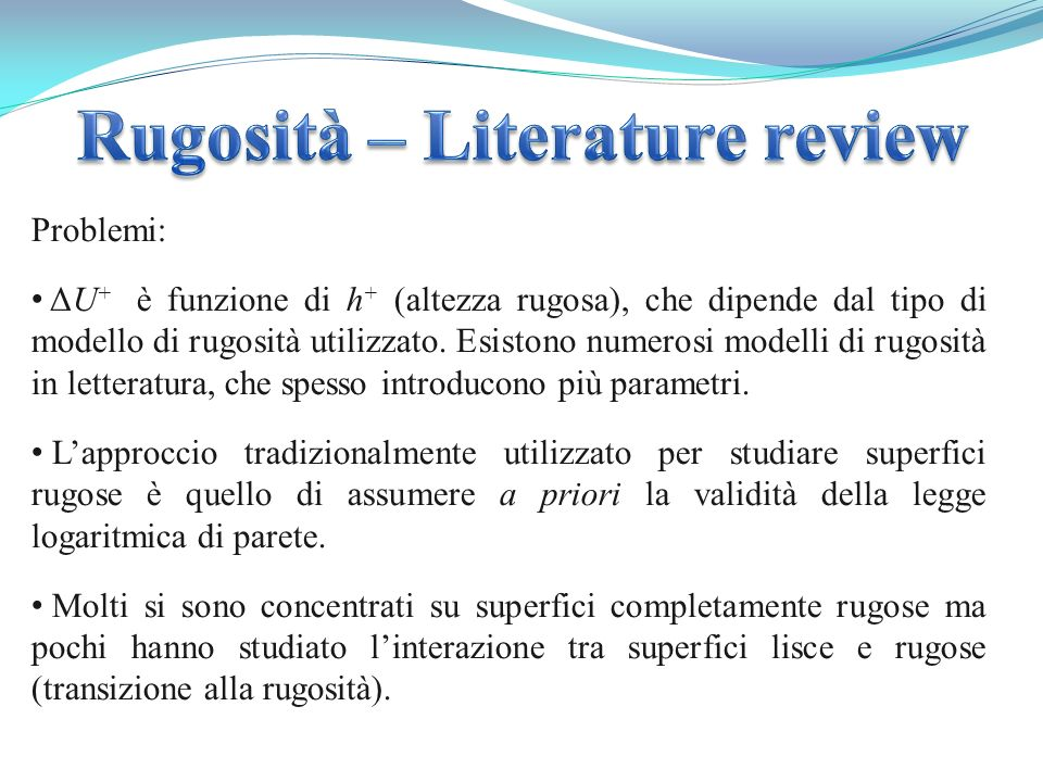 Rugosità – Literature review