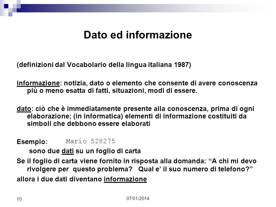 Dato ed informazione (definizioni dal Vocabolario della lingua italiana 1987)