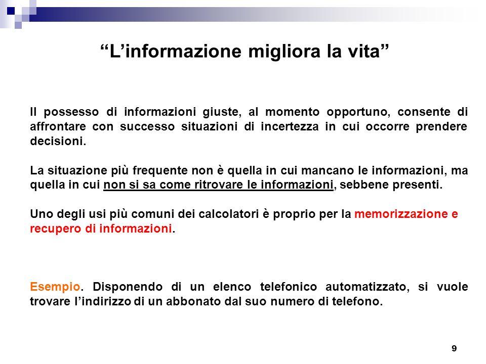 L'informazione migliora la vita