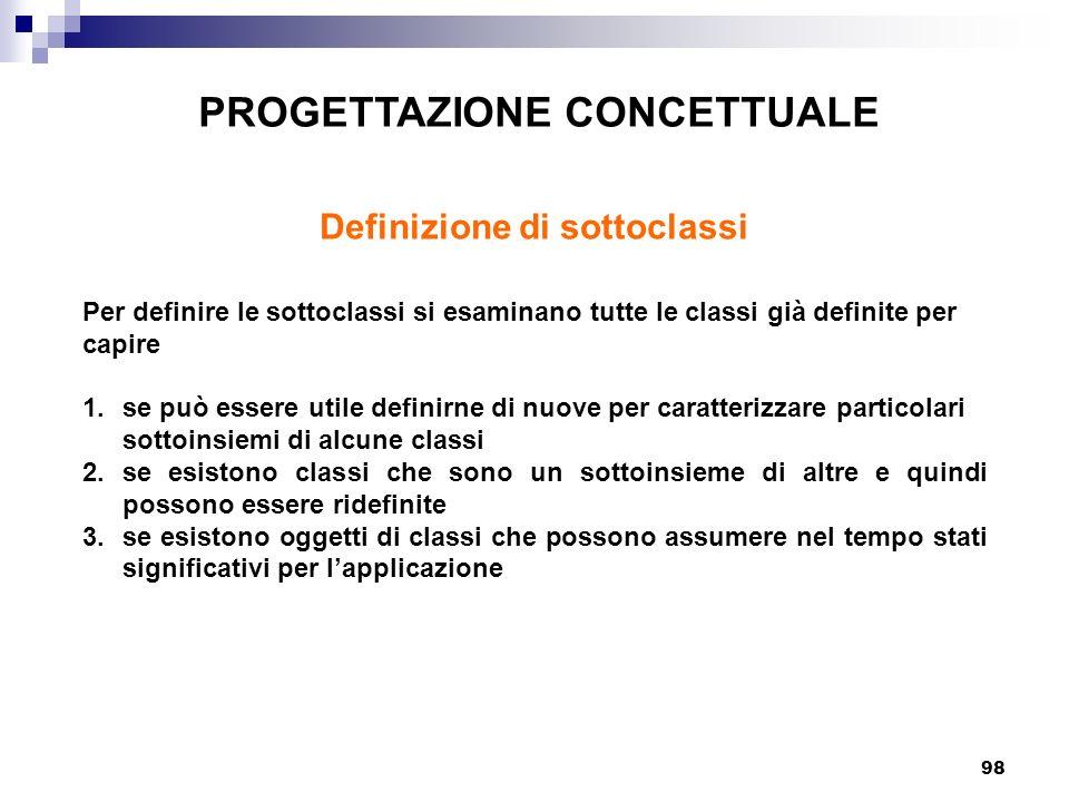 PROGETTAZIONE CONCETTUALE Definizione di sottoclassi