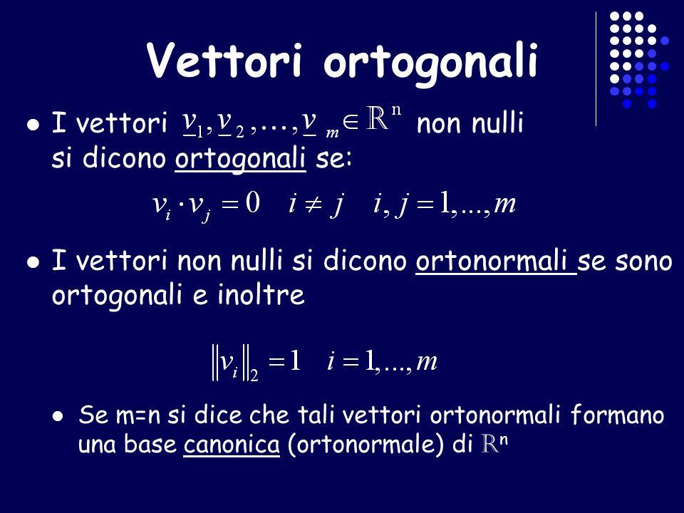 Vettori ortogonali I vettori non nulli si dicono ortogonali se: