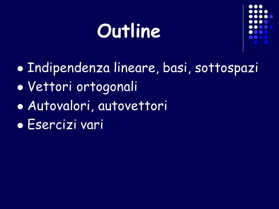 Outline Indipendenza lineare, basi, sottospazi Vettori ortogonali