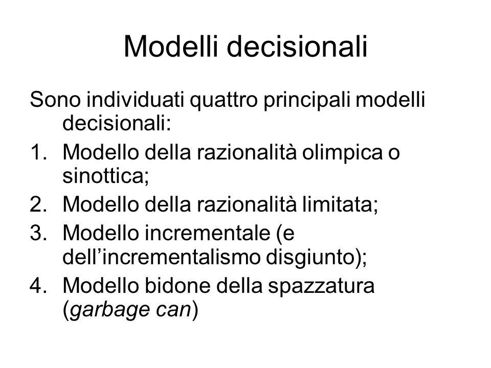 Modelli decisionali Sono individuati quattro principali modelli decisionali: Modello della razionalità olimpica o sinottica;