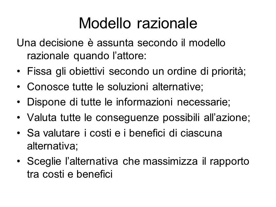 Modello razionale Una decisione è assunta secondo il modello razionale quando l'attore: Fissa gli obiettivi secondo un ordine di priorità;