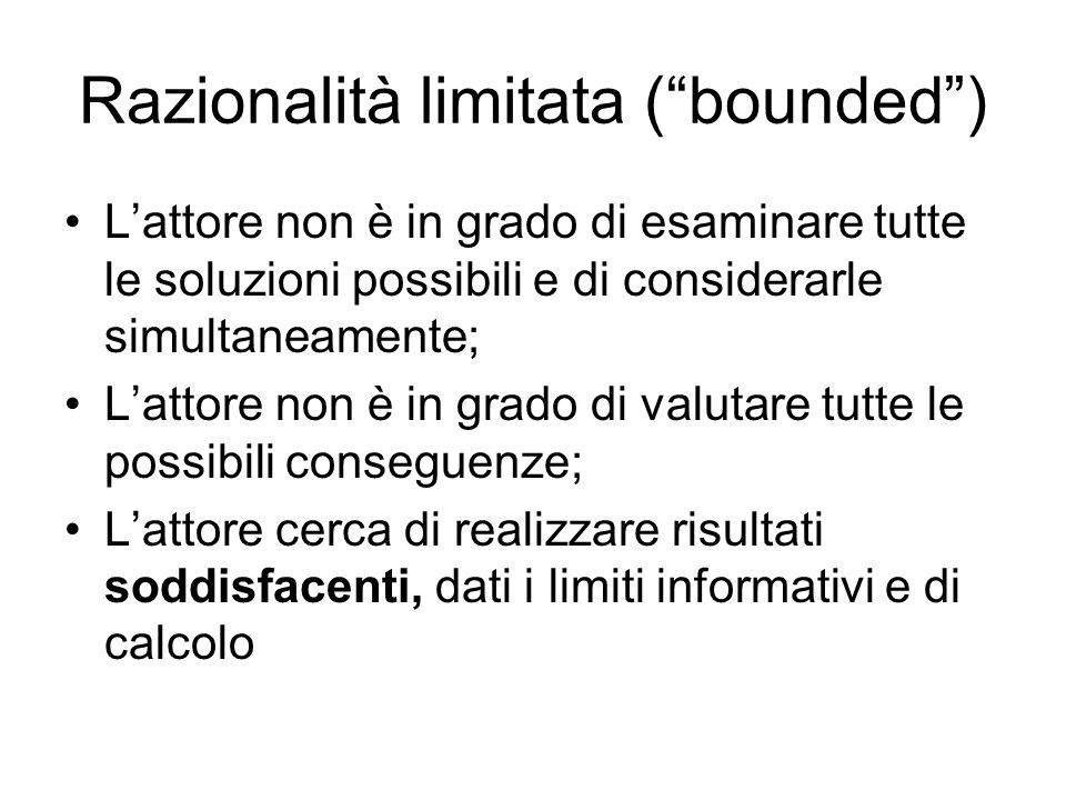 Razionalità limitata ( bounded )