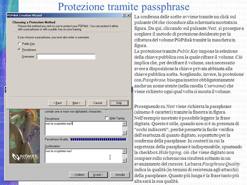Protezione tramite passphrase
