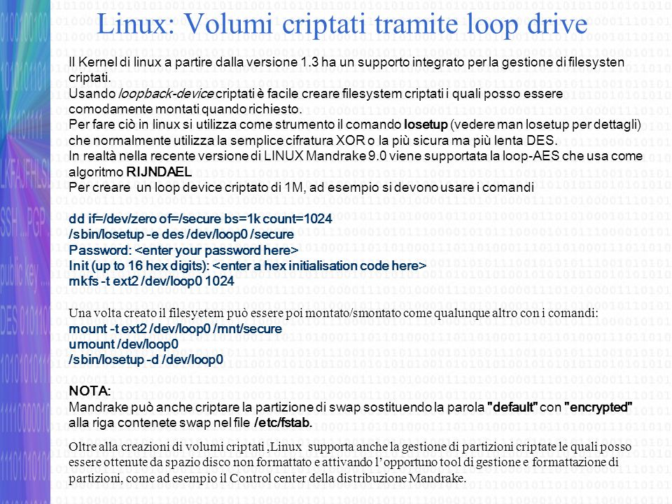 Linux: Volumi criptati tramite loop drive
