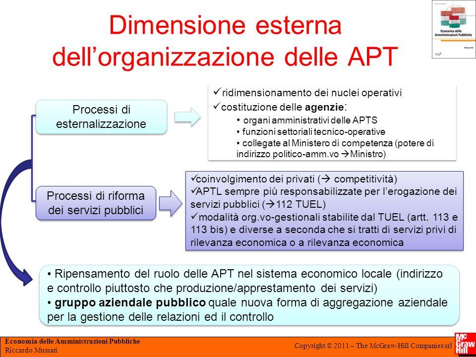 Dimensione esterna dell'organizzazione delle APT