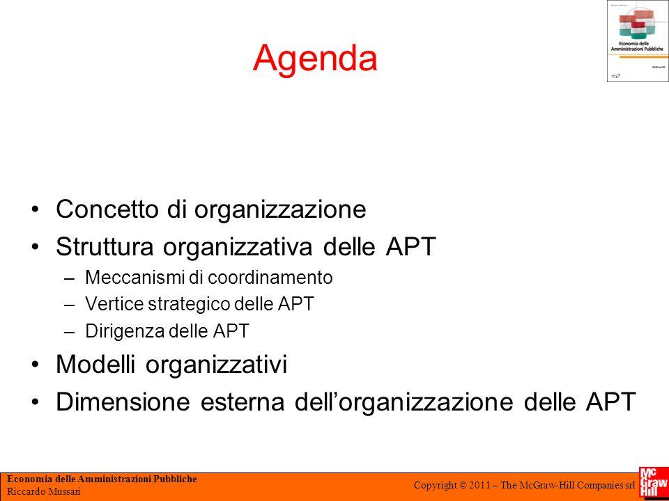 Agenda Concetto di organizzazione Struttura organizzativa delle APT