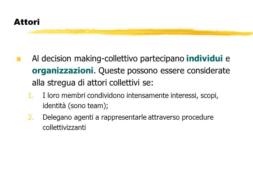 Attori Al decision making-collettivo partecipano individui e organizzazioni. Queste possono essere considerate alla stregua di attori collettivi se: