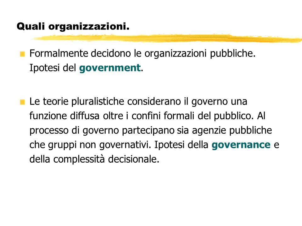 Quali organizzazioni. Formalmente decidono le organizzazioni pubbliche. Ipotesi del government.