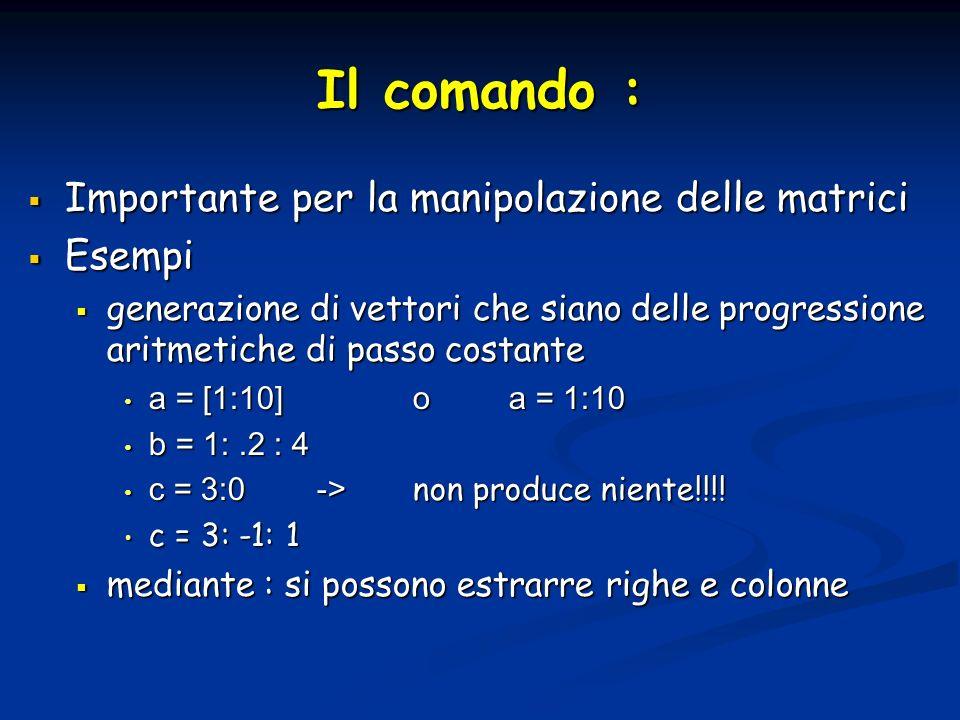Il comando : Importante per la manipolazione delle matrici Esempi