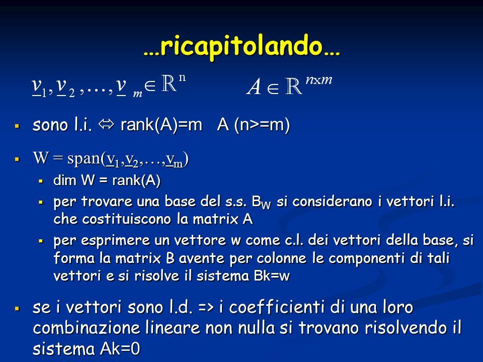…ricapitolando… sono l.i.  rank(A)=m A (n>=m) W = span(v1,v2,…,vm)