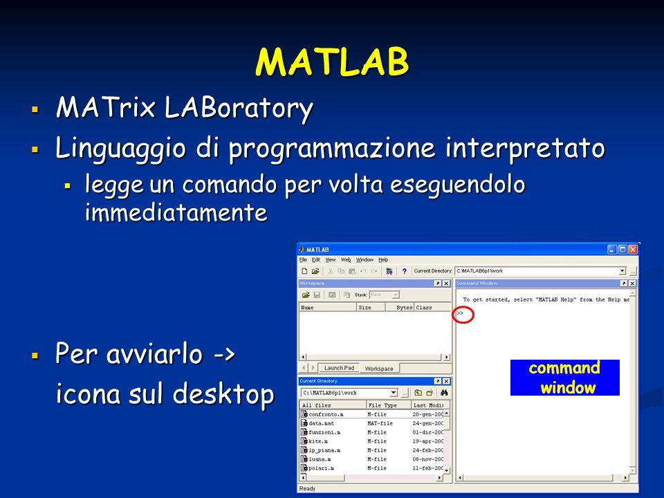 MATLAB MATrix LABoratory Linguaggio di programmazione interpretato