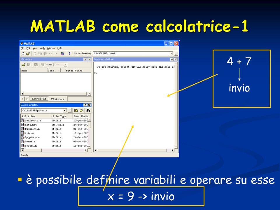 MATLAB come calcolatrice-1
