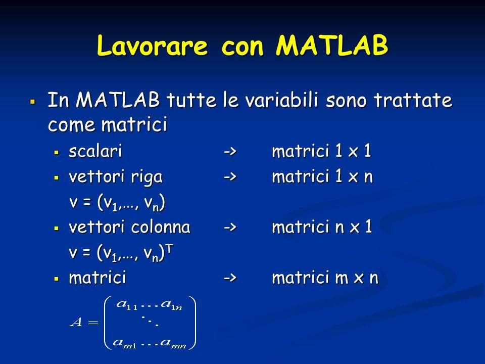 Lavorare con MATLAB In MATLAB tutte le variabili sono trattate come matrici. scalari -> matrici 1 x 1.